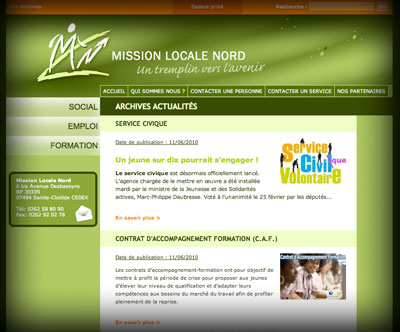 Page intérieure Mission Locale Nord